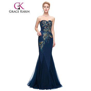 Grace Karin Evening Dress 2017 New Long Navy Blue Mermaid Evening Gowns Strapless Sweetheart Peacock Special Occasion Dresses