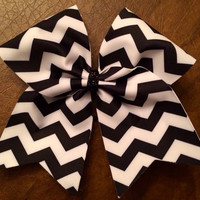 Cheer Bow - Black and White Chevron
