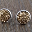 Druzy earrings- gold drusy silver tone stud druzy earrings