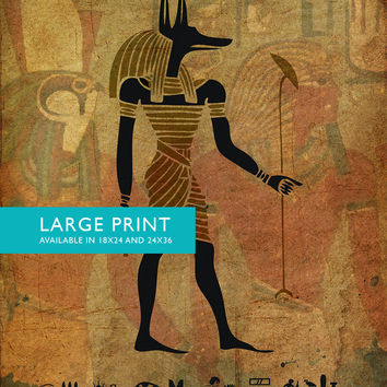Egyptian Anubis Print Vintage Ancient Egypt Decor Ocean Wall Art - Large Giclee Print on Canvas Cotton and Satin Photo Paper