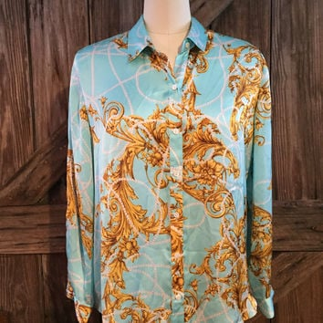 Chico's Satiny Blue Gold Pearls Print Button Shirt Top 2 Large