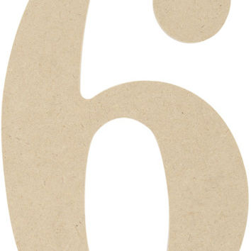 """mdf classic font wood letters & numbers 9.5""""-number 6"""