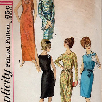 Retro Mad Men Style Evening Gown Cocktail Dress Simplicity 60s Sewing Pattern Wiggle Dress Party Dress Bust 36