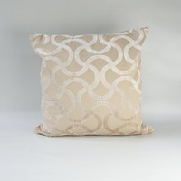"Designer Pillow COVER, One Chenille pillow case, Decorative Beige Neutral Deluxe Wave pillow cover 18""x18"""