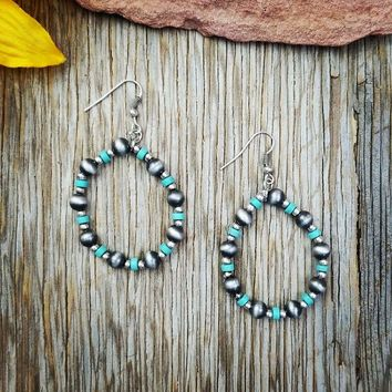 Silver & Turquoise Beaded Round Earrings