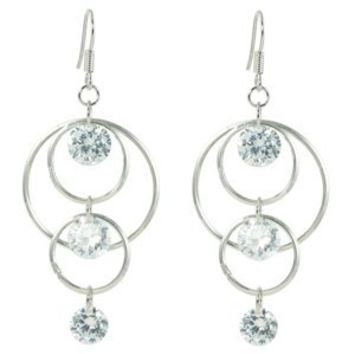 White CZ Accent Triple Graduated Hoops Dangle Earrings