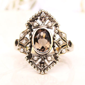 Antique Style Seed Pearl & Citrine Ring Vintage Sterling Filigree Promise Ring November Birthstone Ring Size 6.5!