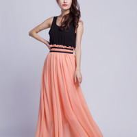 High Waist Circle Skirt Chiffon Long Skirts Beautiful Elastic Waist Summer Skirt Floor Length Beach Skirt (201),Pink