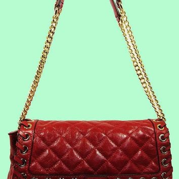 MICHAEL KORS Grommet Hippie Sloan Dark Red Quilted Leather Shoulder Bag Msrp