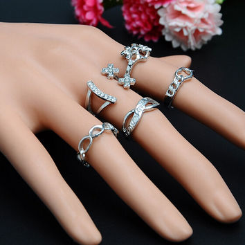 5Pcs/Lot Free shipping Rings Set Hot Selling New Girls Beautiful Silver Geometry Metal Ring Set Fashion Wedding Party Jewelry