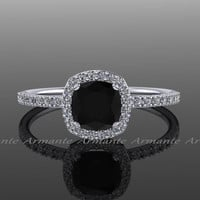 Halo Diamond Black Moissanite Engagement Ring Cushion Cut 14k White Gold Wedding Ring,  Re00082