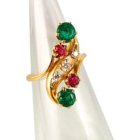 French Art Nouveau crossover ring in 18K solid gold, over 1.50ctw natural emeralds, rubies and diamonds, Edwardian multistone band