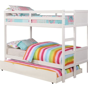 Annette collection white finish wood twin over twin paneled headboards bunk bed set