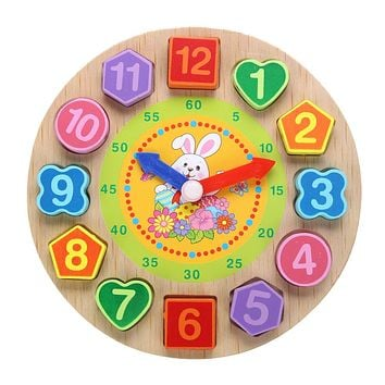 Cartoon Wooden Toys Puzzle Rabbit Threading Clock Figure Toys For Children Educational Geometry Beads Baby Toys Wood Toy