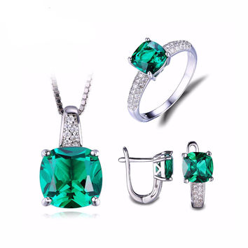 .925 Solid Silver Round Emerald Pendant Necklace Ring and Earring Set