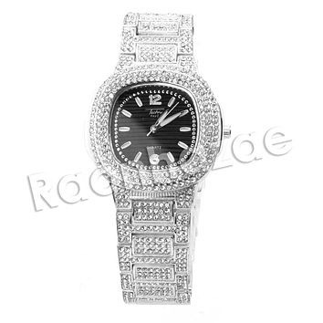 HIP HOP ICED OUT RAONHAZAE LUXURY SILVER FINISHED LAB DIAMOND WATCH