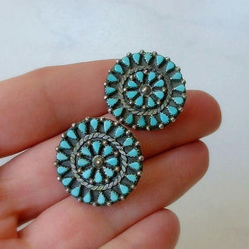 Old Pawn Vintage NATIVE American TURQUOISE Earrings Signed C.K. Zuni Petit Point Cluster STERLING Silver Setting c.1950s