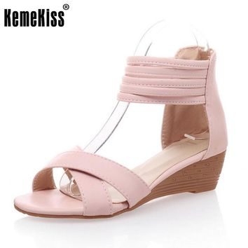 lady novel pointed toe shoes women fashion wedges sandals zipperr high heel footwear h