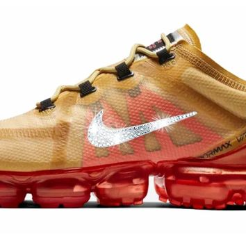 Nike Air VaporMax 2019 + Crystals - Club Gold/Ember Glow (UNISEX)
