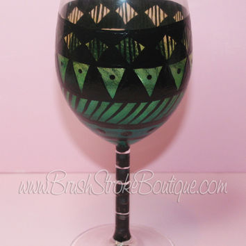 Hand Painted Wine Glass - Aztec Tribal Green 2 - Original Designs by Cathy Kraemer