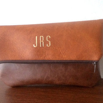 Foldover Personalized Clutch / Monogrammed Clutch Purse