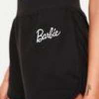 Missguided - Barbie x Missguided Black Drawstring Runner Shorts
