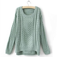 ROUND COLLAR NICE SWEATER -green