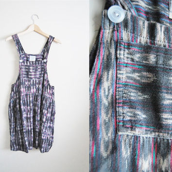 Ikat Overalls - Vintage 90s Ikat Print Overall Dress Flared