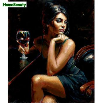 Painting & Calligraphy acrylic paint paintings by numbers on canvas wine women pictures home decor wall art paintings WYA098