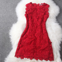 HOT RED BLACK LACE DRESS