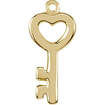 14kt Yellow Gold Tiny Heart Key Charm