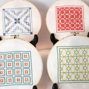 Hand Embroidery pattern Geometric Mini Quilts by purrfectstitchers