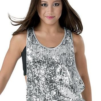 Sequin Racerback Banded Bottom Tank Top | Balera™