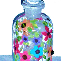 Mini Perfume Bottle Hand Painted Colorful Flowers Glass Apothecary Jar Decorative Bottle