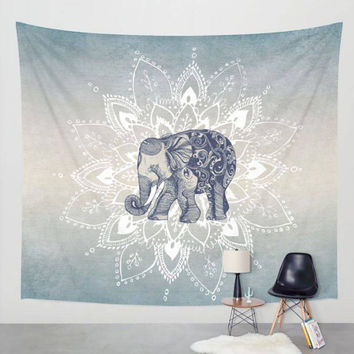 Elephant Tapestry Aubusson Colored Printed Decorative Mandala Tapestry Indian Religious Boho Wall Carpet Living Room Blanket AA