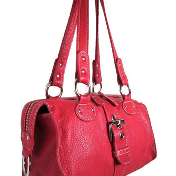 Authentic Vintage ROOTS Canada Genuine Cherry Red thick buttery soft Italian Leather Silver Studded double zipper top Roomy Satchel Handbag