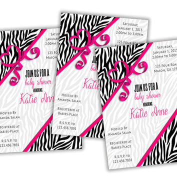 Pink Zebra Baby Shower Invitations - Hot Pink Baby Shower - Zebra Stripe Invites - Girl Baby Shower - Bow - Safari Baby Shower Girl