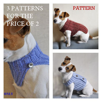 3 Crochet and Knitting Dog Sweater PATTERN  / PDF format Pattern /  Dog clothes pattern /