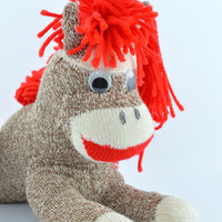 Plush Sock Monkey Doll Grey & White Horse with Long Red Yarn Mane