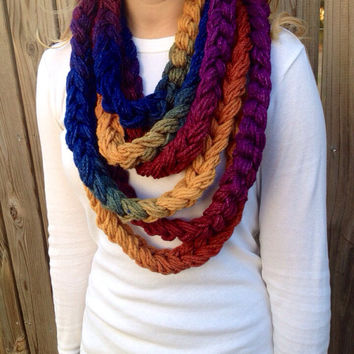 OOAK Rainbow Infinity Chain Scarf, Wrapped Scarf, Chain Necklace, Infinity Scarf