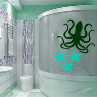 Octopus Wall Decal Sea Animal Vinyl Stickers Sea Star Art Mural Home Interior Living Room Decals For Bathroom Spa Salon Nautical Decor KY95