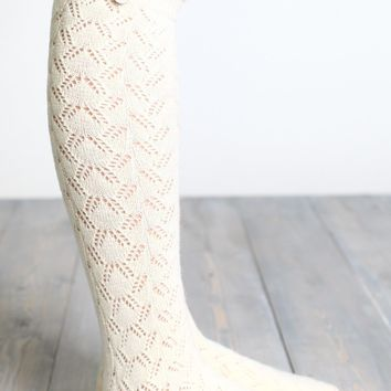 Lace Thigh High Boot Socks
