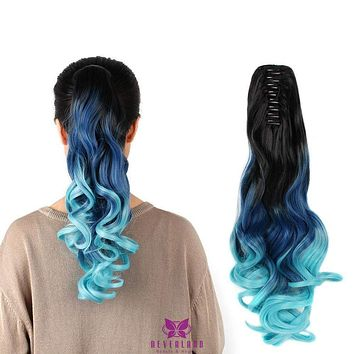 """Claw Style 20"""" Hair Extensions Clip Synthetic Ponytail Hair Ombre Three Tone"""