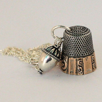 Antique Thimble and Acorn Charm Peter Pan and Wendy Hidden Kisses Necklace
