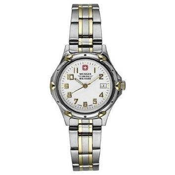 Wenger 79094 Men's Military White Dial Two Tone Stainless Steel Bracelet Watch