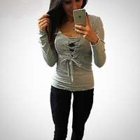 Women's Casual Hollow Out Slim Sexy O-neck Long Sleeve Blouses
