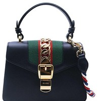 Gucci Women's The Spring and Autumn Sylvie Series Leather Shoulder Bag Inclined Shoulder Bag