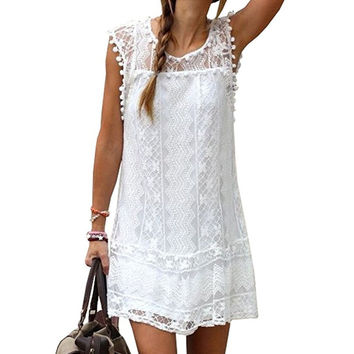 Women's O Neck Crochet Hollow Lace Mini T-shirt Dress
