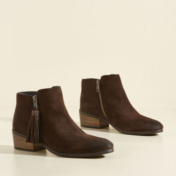 Do Now, Tassel Later Suede Bootie | Mod Retro Vintage Boots | ModCloth.com