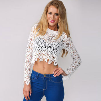 Summer Crop Top Lace Hollow Out Zippers Long Sleeve T-shirts = 4804204676